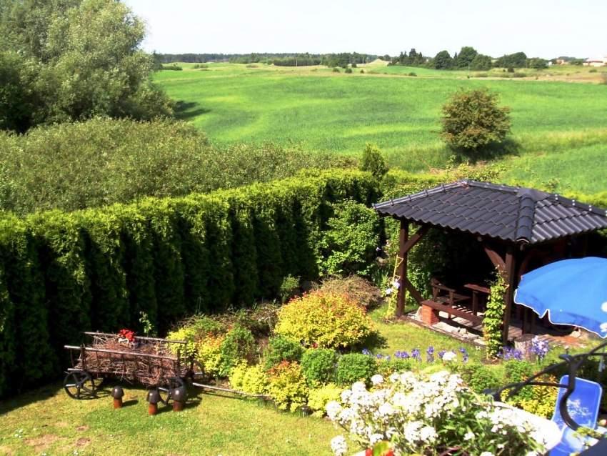 Überdachter Grillplatz- Ausblick aus einem der 2-Bettzimmern auf die Johannisburger Heide