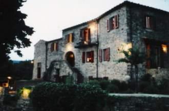 Ferienwohnung Weingut SAN LEONARDO - Toskana  Chianti Classico Greve in Chianti - Unsere Terrasse am Abend