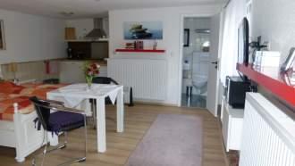 Ferienhaus in Rostock - Die 34 m² grosse Ferienwohnung ist unterteilt in einen Schlaf- und Wohnbereich, eine offene Küche und ein Duschbad mit WC, hier ist genug Platz für 2 Personen.